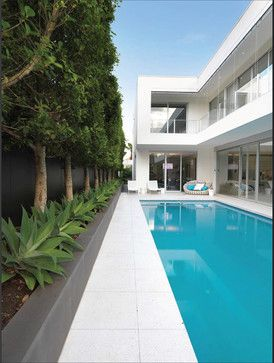 Grey Render Landscaping Pool Home Design, Decorating, and Renovation Ideas on Houzz Australia
