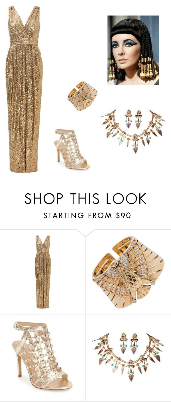 """Cleopatra Costume"" by oliviaf14 ❤ liked on Polyvore featuring Badgley Mischka, Cartier and Vince Camuto"