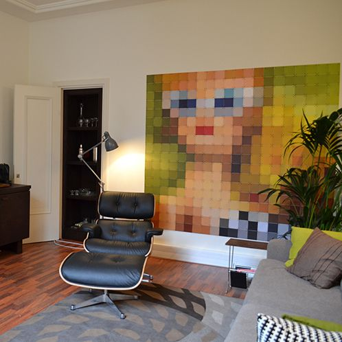 IXXI wall decoration made by a customer of us. This pixelated picture originally was an image of a Barbie. This image has been taken through the IXXI-module which can also pixelate your images. #ixxi #ixxidesign