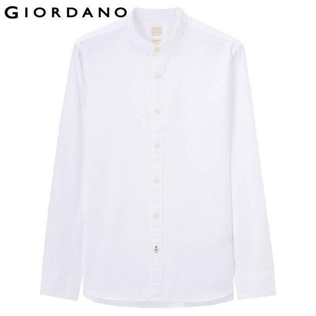 Men Oxford Shirt Collor Stand Long Sleeves Shirt Casual Mercerized Cotton Shirt