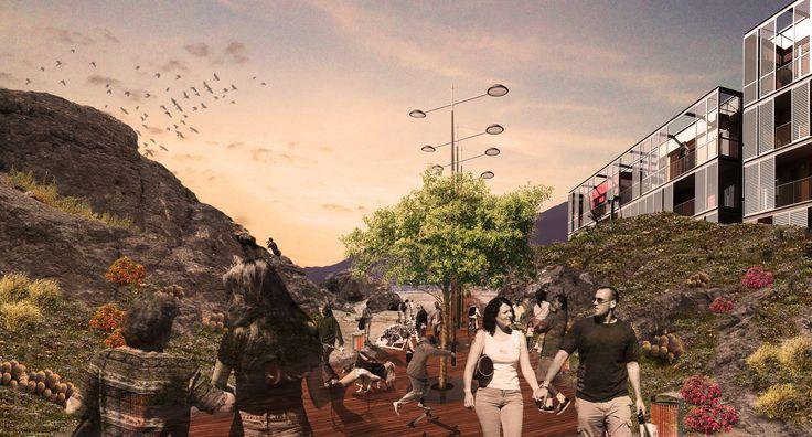 imagen proyectual tipo collage - intervención urbana en localidad de Taltal