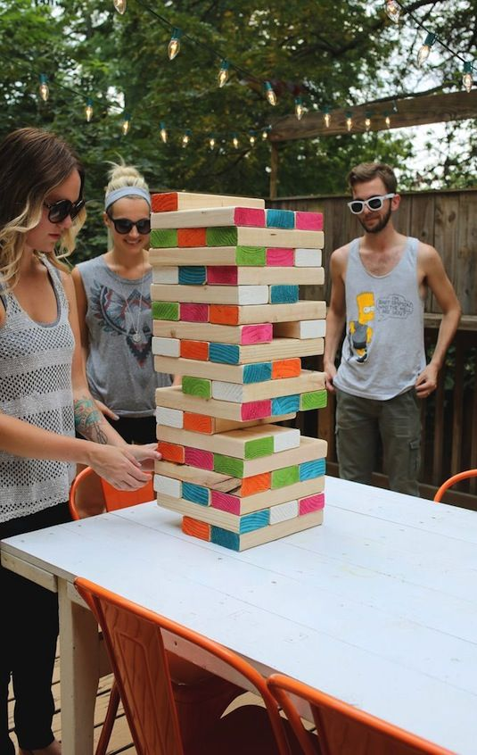 Go big in the backyard with giant Jenga. All you need are a few 2x4 boards and some paint. No saw necessary—most lumber yards will cut the boards for you.