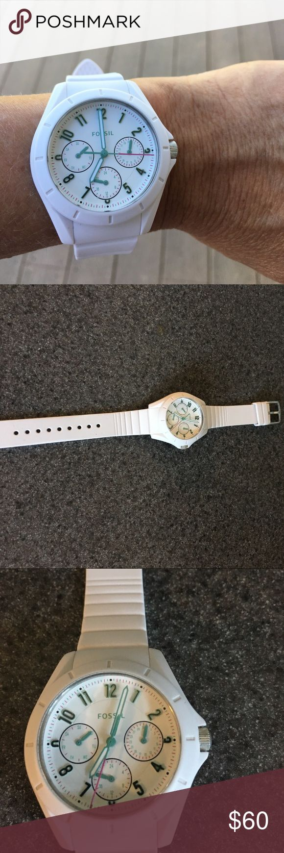 Women's Fossil Poptastic sport watch- white Women's Fossil watch ES4064 Poptastic Sport watch. Battery runs and this sale includes the collectible tin. Bought 2 months ago with little wear. No scratches or nicks on the glass. Fossil Accessories Watches