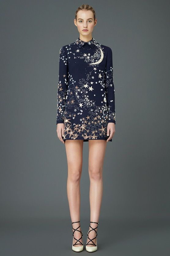 Stunning minidress with galactic print from Valentino's space-inspired Pre-Fall 2015 collection...x