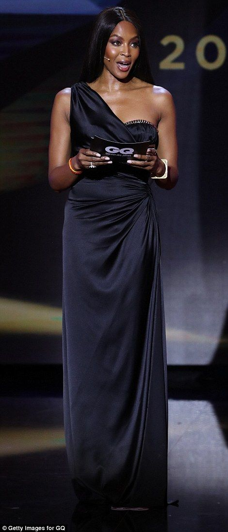 Strutting her stuff: Naomi Campbell looked every inch the queen of the catwalk as she arri...