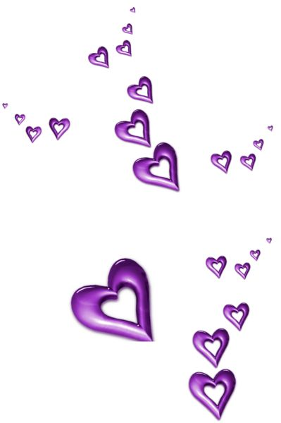 Purple Decorative Hearts Ornaments PNG Clipart