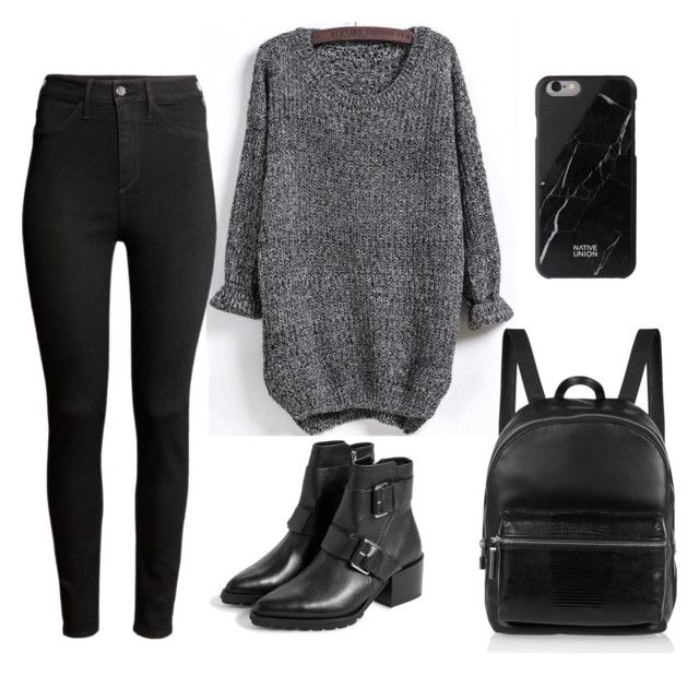 """Black"" by jamalaoo on Polyvore featuring мода, H&M, MANGO, Elizabeth and James и Native Union"