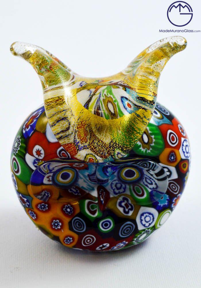 #Owl Head in #Murano #glass.--- testa di #civetta in #vetro di #Murano.