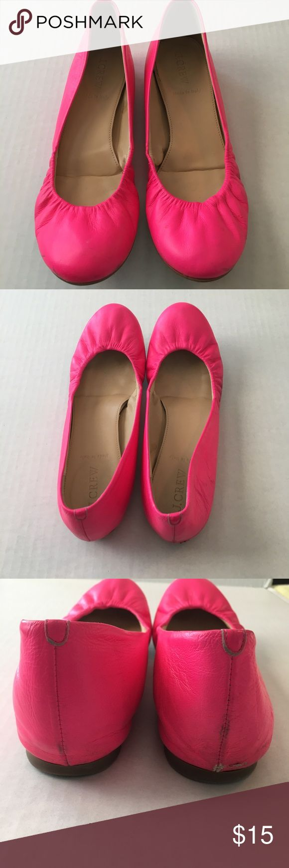 J.Crew bright pink ballet flats Bright pink color. Leather upper. Previously worn and there are some scratches in the leather shown in the pictures. J. Crew Shoes Flats & Loafers