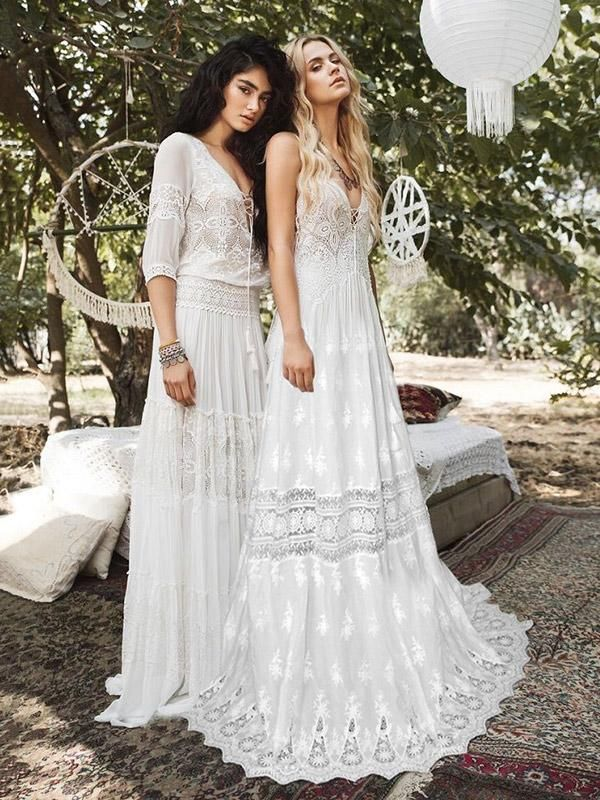 Lacy Hollow Spaghetti-neck Bohemia Wedding Dress