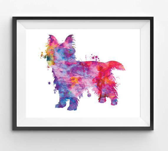 Colorful Australian Terrier Watercolor Print Dog Print Dog