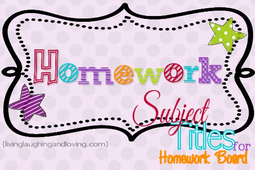 Subject Titles for Homework Board... Free Printables for your Homework Board!