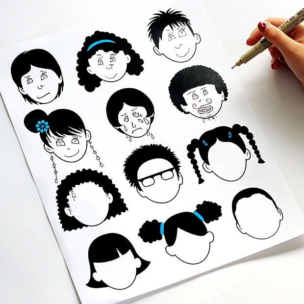 Blank Faces Printable Coloring Page