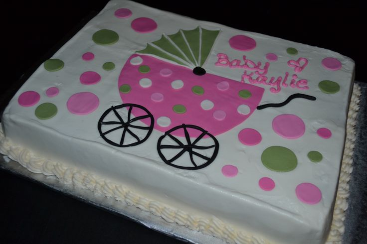 Baby Shower - Hot pink & sage green baby carriage baby shower cake with polka dots