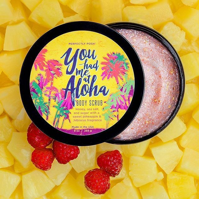 Link in bio to shop  @Regrann from @perfectly_posh -  Get summery, smooth skin when you scrub up with pineapple extract, scrubby sugar, and natural loofah. You Had Me at Aloha Body Scrub also features hydrating honey and hibiscus oil, plus a sweet pineapple and vibrant hibiscus scent for a truly tropical shower! On sale this week only, so shop now! . . #skincare #skin #beauty #instabeauty #summerskin #summer #mua #makeupaddict #shower #bath #exfoliate #hydrate #bodyscrub #sugarscrub…