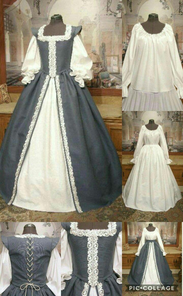 Blue and white Renaissance Faire costume dress