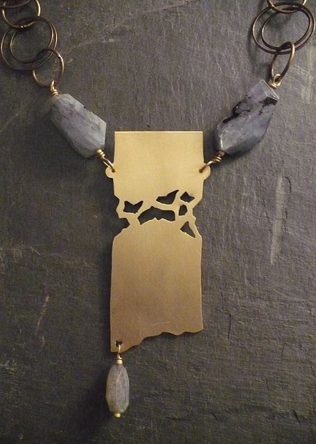 Solid Yet Broken by ALNBCOLLECTIONS2, via Flickr (ALLISON NORFLEET BRUENGER-USA)  Brass, Fretwork, Kyanite Nuggets, and Brass chain http://www.alnbcollections.com/