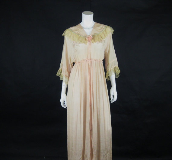 Edwardian Pink Silk Robe 1900s Morning Lace Embroidery Robe