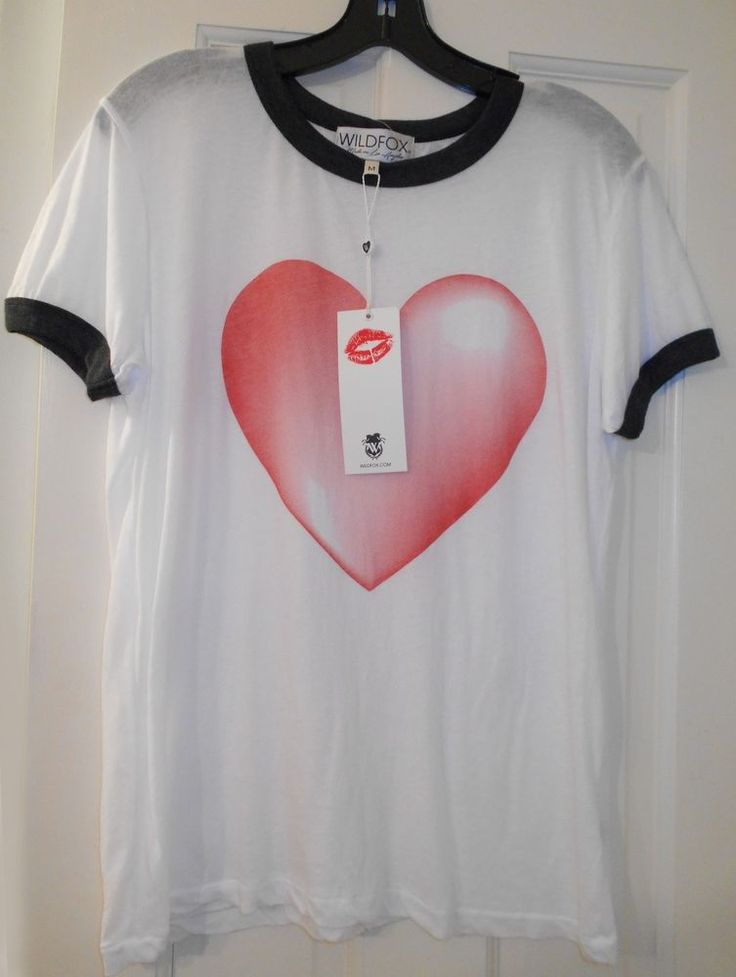 New $84 WILDFOX COUTURE Red Love Heart White Ringer Johnny Valentines T- Shirt~M #Wildfox #GraphicTee