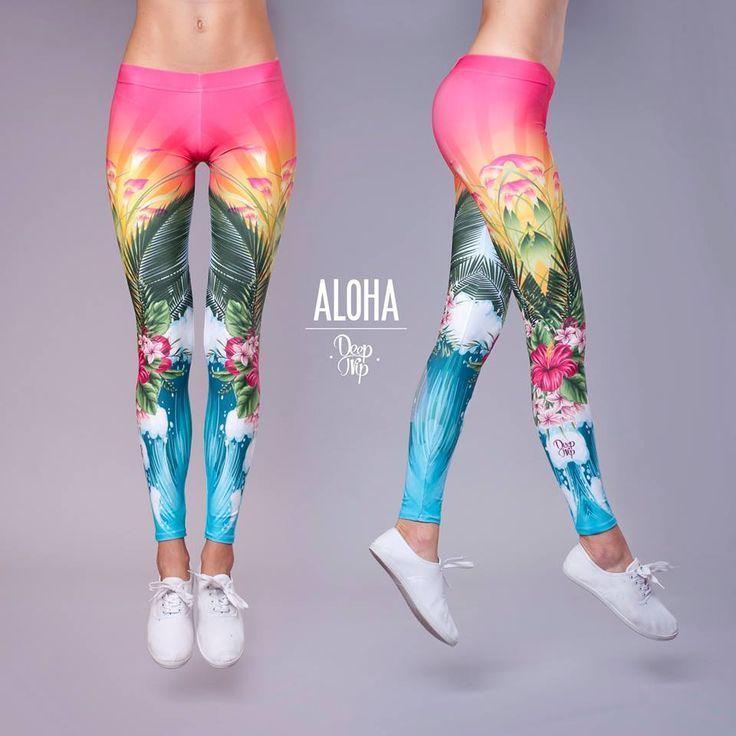 Aloha Leggings #deeptrip #aloha #leggings # hawaii #flowers #waves #fitness