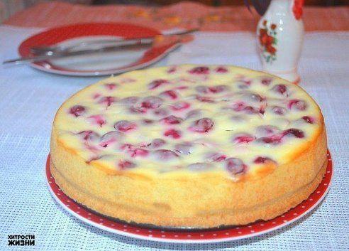 Творожный пирог с вишней Для коржа: мука - 150 г; слив. масло - 80 г; молоко - 1-2 ст. л.; желток; сах. пудра - 1 ст. л.; соль. Для начинки: вишня без косточек - 250 г; слив. сыр - 200 г; творог - 150 г; сметана - 100 г; сахар - 3/4 стак.; 2 яйца; ванилин - 1 пакет; крахмал - 1 ст. л.