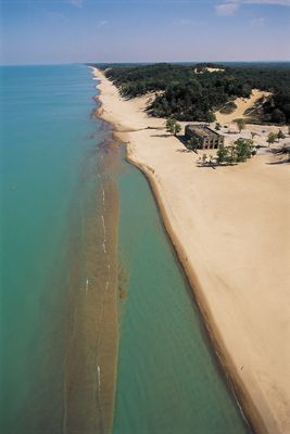 Indiana Dunes State Park - the beach is on Lake Michigan and covers the coast line of Northwest Indiana