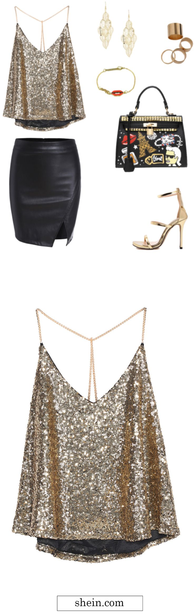 Amazing outfit for party with sequined cami top & leather skirt.