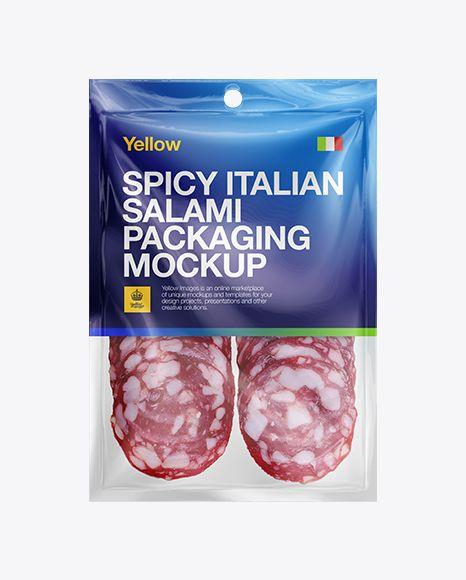 Plastic Vacuum Bag W/ Spicy Italian Salami Mockup. Preview