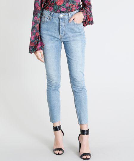 36a79dcecb Calça Jeans Feminina Mindset Skinny Cintura Alta Barra Desfiada Azul Claro