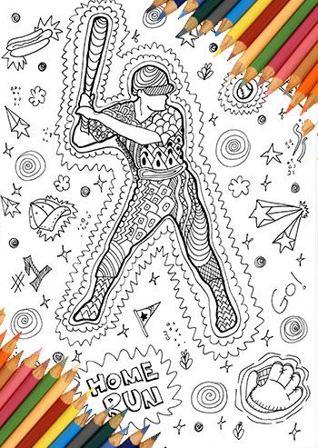 Baseball Man Coloring Page Game Sports Printable Zentangle Doodle Drawing Kids