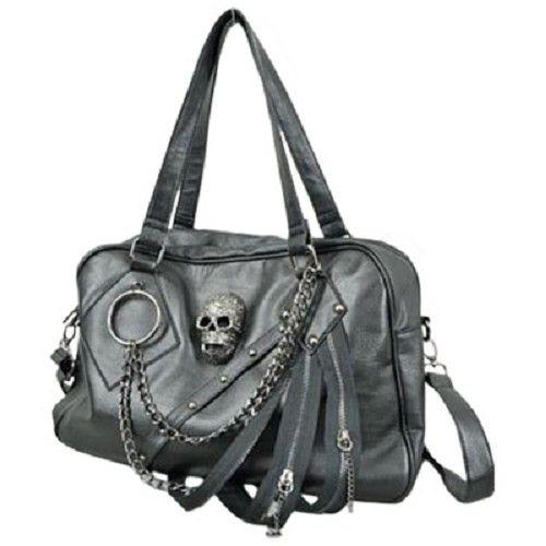 Schedel en riemen hand- en schouder tas zwart - Gothic Metal - Queen of Darkness