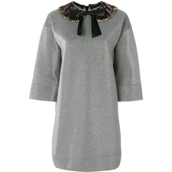Gucci pan collar lurex dress ($1,800) ❤ liked on Polyvore featuring dresses, grey, gray cocktail dress, grey sequin dress, short dresses, gray dress and glitter dress