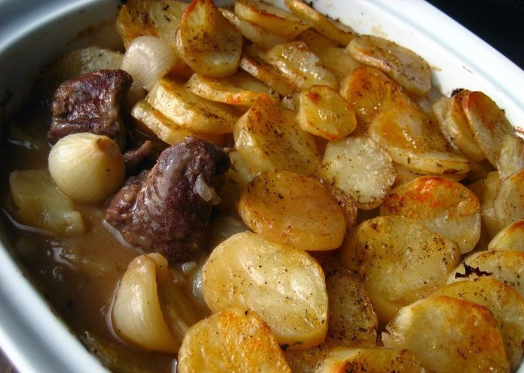 Lancashire hotpot is a meal made typically from lamb or mutton and onion, topped with sliced up potatoes, delegated bake in the oven all day in a heavy pot and on a low heat.