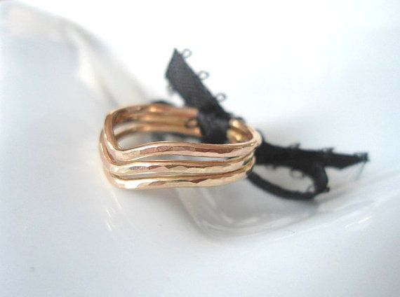 Puntige 14K goud gevuld ringen Stacking Rings Slim ringen