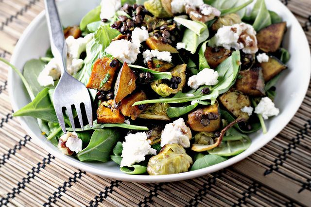 spicy squash salad with lentils, brussels sprouts, and goat cheese