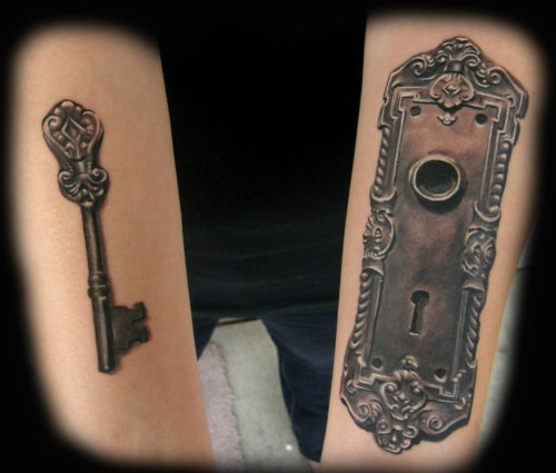 Door lock and key by David Newman-Stump: Couples Tattoo, Locks Keys Tattoo, Tattoo Ideas, 3D Tattoo, Feet Tattoo, Body Art, A Tattoo, Locks And Keys Couple Tattoo, Couple Tattoos