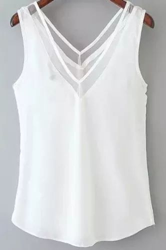 hermosa blusa en chifon escote en v con transparencia                                                                                                                                                     Más