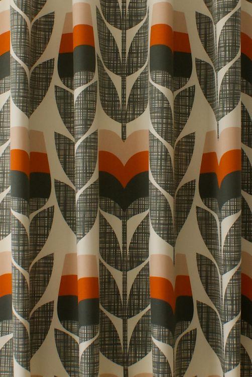 Rosebud Orange Curtain Fabric