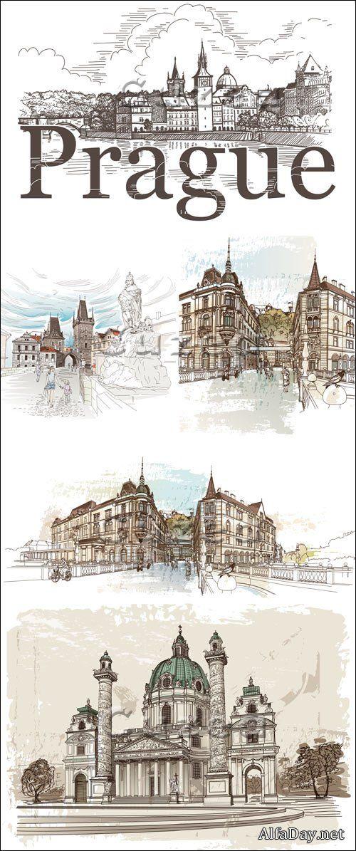 Прага, здания, улицы и памятники города, скетчи, эскизы, наброски, зарисовки и рисунки - векторные иллюстрации, клипарт photo