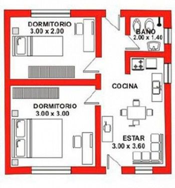 Plano vivienda 30mts konstrucor casas peque as planos for Casa moderna 7x7