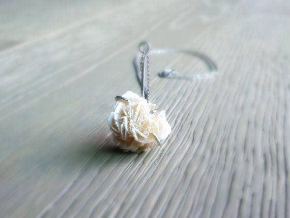 Raw Crystal Pendant Natural Selenite Rosette Crystal Bridal
