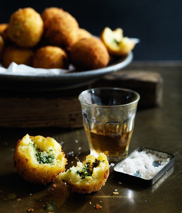 Potato croquettes stuffed with anchovy butter recipe :: Gourmet Traveller