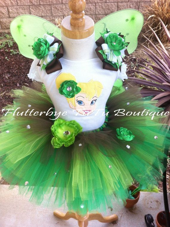 Tinkerbell Costume TuTu Set w/ Flowers and Bling by flutterbyetutu, $59.50