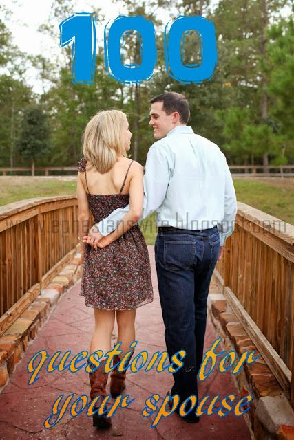 100 questions to ask your spouse...fun date for a long car ride together!