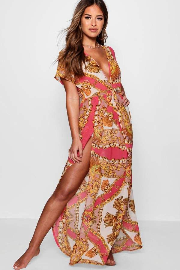 c7204131d139c boohoo Petite Emma Scarf Print Wrap Beach Maxi Dress | CURRENT FASHION  SALES! | Maxi kaftan, Fashion, Dresses