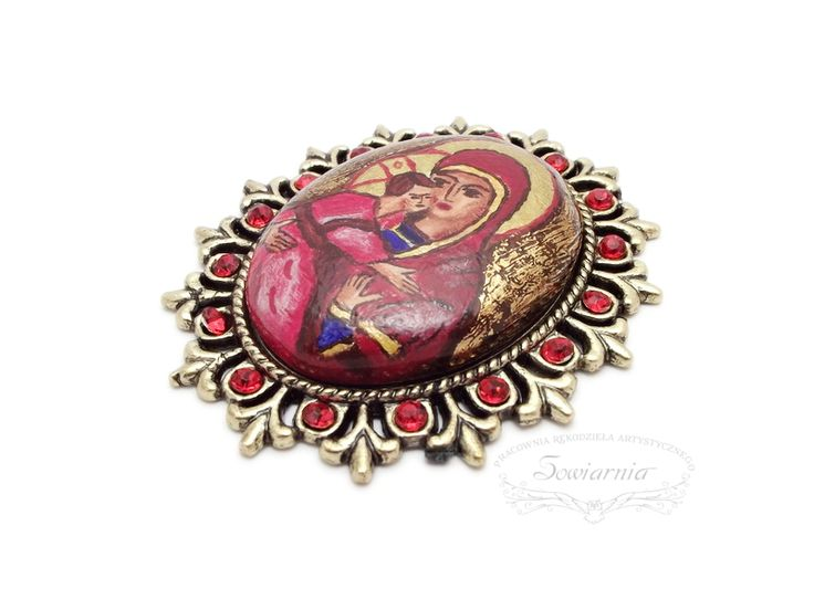 Miniature icon brooch, painted on a handmade wooden cabochon, blog.sowiarnia.pl