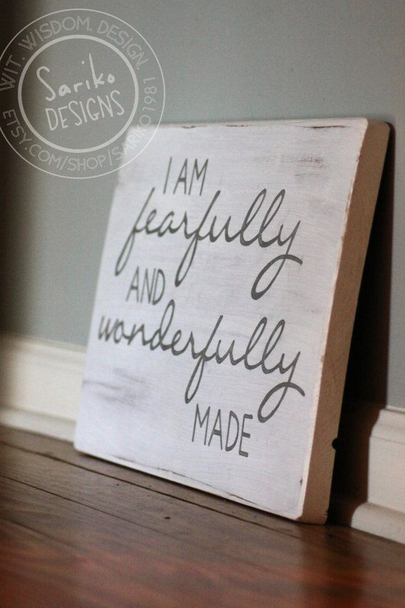 Hand painted Sign 'I am fearfully and by SarikoDesigns on Etsy