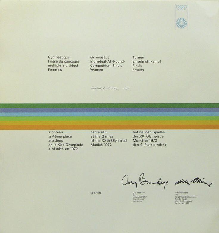 "Lot 3 - Olympic Games Munich 1972 Winner Diploma - Winner diploma ""Turnen Einzelmehrkampf Finale Frauen"