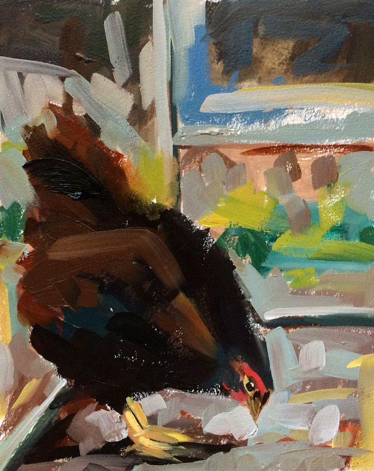 Rhode Island Red no. 2 Chicken Original Oil Painting by Angela Moulton pre-order