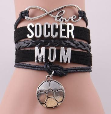 Black Soccer Mom Leather Bracelet by DesignsbyDazzle on Etsy